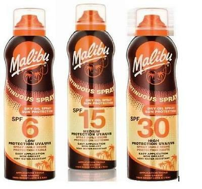Malibu Continuous Dry Oil Spray Suntan Lotion Water Resistant Choose SPF 175ml