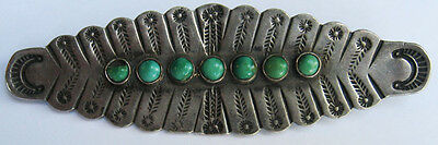 Vintage Navajo Indian Stamped Feathers Silver Green Turquoise Row Pin