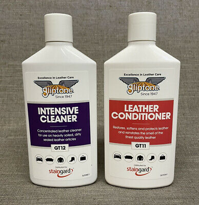 Gliptone Liquid Leather Cleaner GT12 And Conditioner GT11 both 250ml PH Neautral
