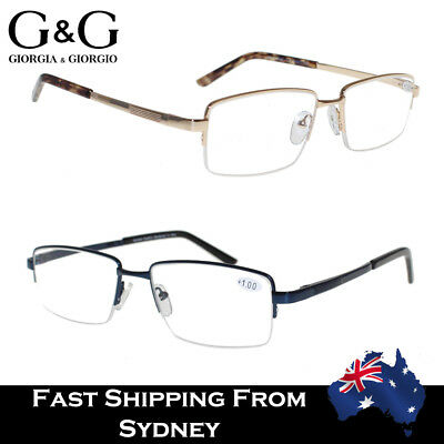 G&G Men Half Rim Magnifying Reading Glasses Metal Frame Plastic Arms 1.0~4.0