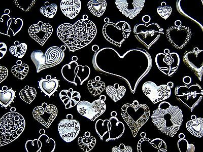 Tibetan Silver Random Mixed Heart Charms Pendants Love Christmas 28 Designs ML