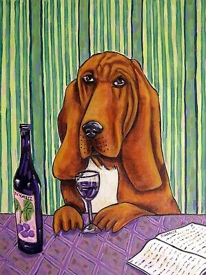bloodhound wine notecards set of four cards JSCHMETZ gift new