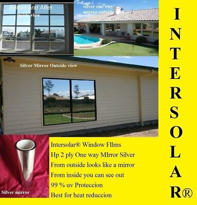 "24"" x10' Silver CHROME MIRROR Window Tint  Home  2 ply extra Dark Intersolar® 1%"