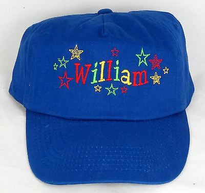 Personalised Kids Embroidered Baseball Cap Bright Stars Design -Choice Of Colour