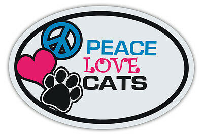 Oval Cat Magnets: PEACE, LOVE, CATS | Cars, Trucks, Refrigerators, More!