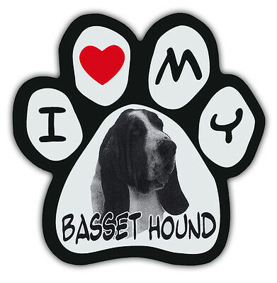 Picture Paws   Dog Paw Shaped Magnets: I LOVE MY BASSET HOUND   Car Magnet