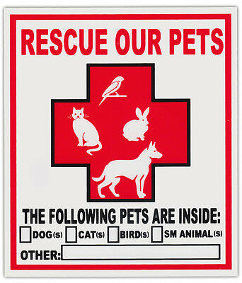 2-Pack Pet Rescue Window Stickers Decals | Alert To Fire Department Dogs Cats