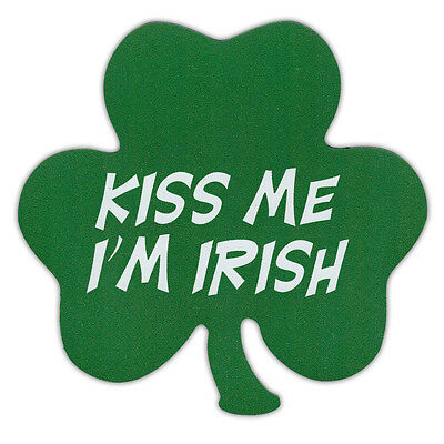 KISS ME I'M IRISH - Clover Shaped Car Magnet - Great For St. Patrick's Day