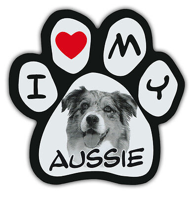 Picture Paws | Dog Paw Shaped Magnets: I LOVE MY AUSSIE (AUSTRALIAN SHEPHERD)