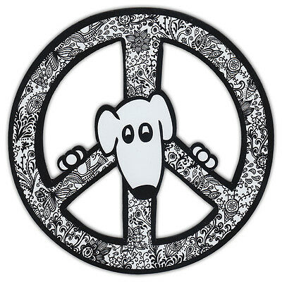 Peace Sign Shaped Magnets (See Through): Black and White Art (Dogs)