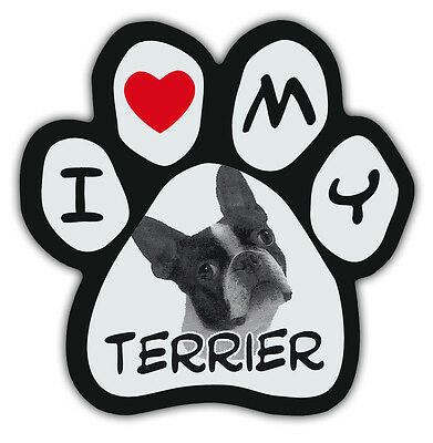 Picture Paws | Dog Paw Shaped Magnets: I LOVE MY TERRIER (BOSTON) | Car Magnet