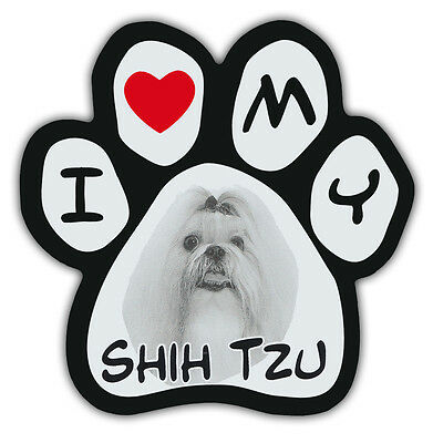 Picture Paws | Dog Paw Shaped Magnets: I LOVE MY SHIH TZU | Car Magnet