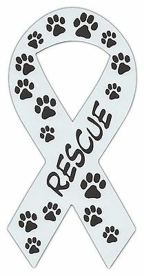 Ribbon Shaped Magnets: Rescue (Dogs, Cats) Paw Design | Cars, Trucks, Support