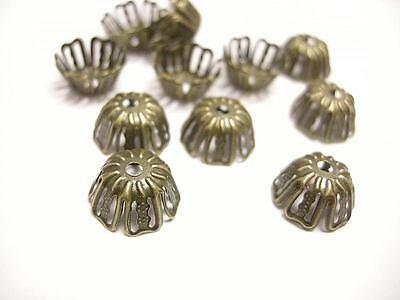 20pc antique bronze filigree bead caps-1048