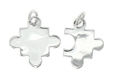 Sterling Silver 14x20mm Puzzle Piece Autism Awareness Ribbon Charm