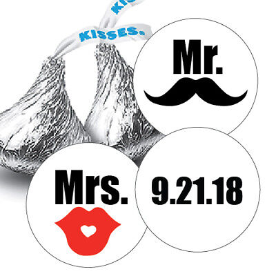 108 Mr. & Mrs. Mustache & Lips With Date Hershey Kiss Labels Stickers Favors