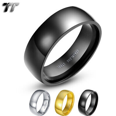 TT 8mm Plain Glossy Mirrored Finished Stainless Steel Wedding Band Ring (R44)