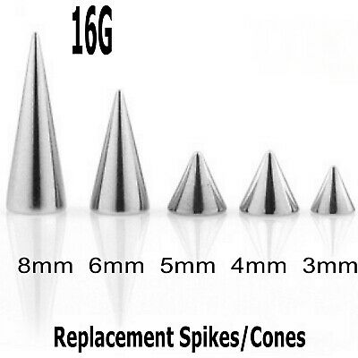 5 Spare Surgical Steel Threaded Spikes Cones Body Piercing Parts Mix Sizes 16g