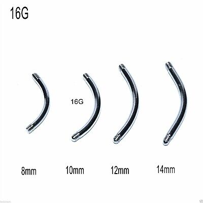 5 Spare Surgical Steel Curved Threaded Barbell Blanks Eyebrow Belly Bars 16g