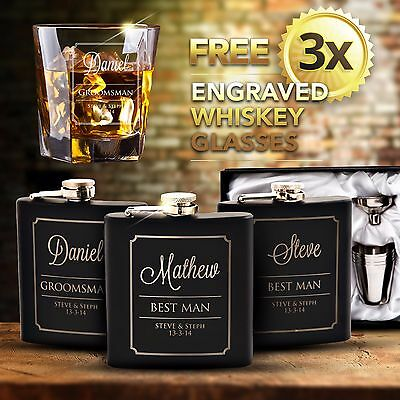 3x Engraved Black Hip Flask Gift Set Personalised Wedding Groomsman Bridal Party