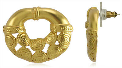 ACROSS THE PUDDLE 24k GP Pre-Columbian Nose Ring with Nine Spirals Drop Earrings