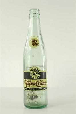 "Vintage 9.5"" Tall Advertising ACL Bottle TOPO CHICO Mineral Water 11.5 OZ"