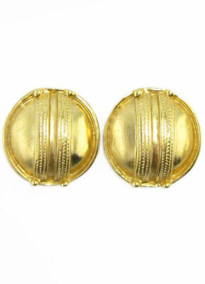 ACROSS THE PUDDLE 24k GP Pre-Columbian Taironas Braided Button Earrings