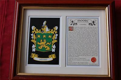 MOORE Family Heraldic Framed Coat of Arms Crest and History