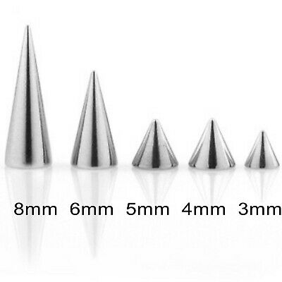 10 Spare Surgical Steel Threaded Spikes Cones Body Piercing Parts Mix Sizes 16g