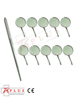 Mirror Handle with 10 x Mouth Mirror Plane No 5   Dental Instruments
