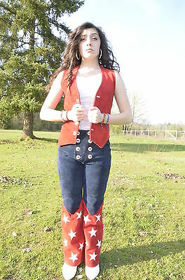 Custom Red White & Blue Retro Rodeo Cowgirl Suede & Leather Outfit by Longfields