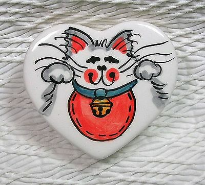 Maneki Neko Cat Box Heart Shaped Original Beckoning Cat Design by Grace M Smith