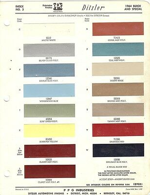 1964 Buick And Buick Special Paint Chips (Ppg)