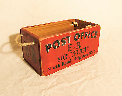 Vintage antiqued wooden box, crate, trug, Post Office Box, Brighton