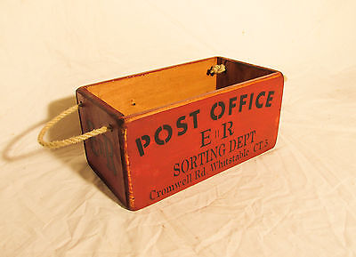 Vintage antiqued wooden box, crate, trug, Post Office Box, Whitstable