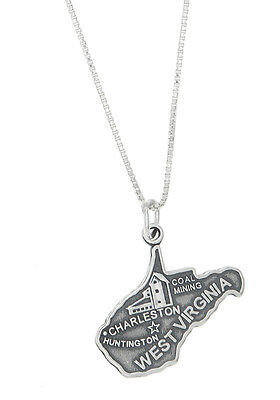 Sterling Silver State of West Virginia Charm with Box Chain Necklace
