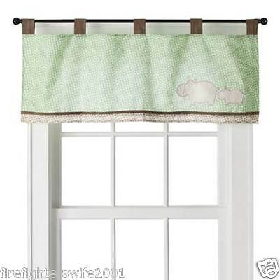 Sumersault Spotted Hippo Window Valance Tab Top 44x15 green brown new
