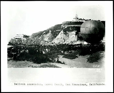 1886 HOT AIR BALLOON ASCENSION,CLIFF HOUSE,SUTRO HGTS.,SAN FRANCISCO~8x10 PHOTO