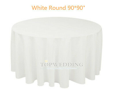 """90"""" Round Satin White Tablecloths Wedding Party Banquet Seamless Table Cover New"""