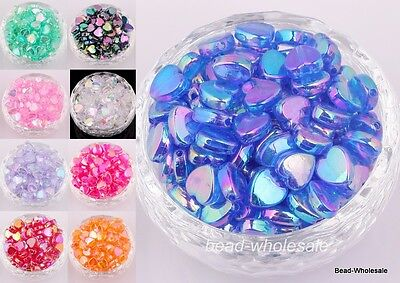 200pcs AB Color Heart Shaped Acrylic Spacer Beads Charms Making Jewelry 4*8mm