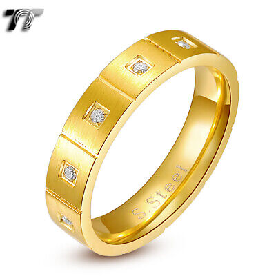 TT 5mm Gold Brushed Stainless Steel Multi CZ Engagement Wedding Band Ring (R191)