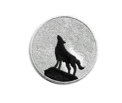 Wolf - Full Moon -  Howling Wolf - Embroidered Iron On Patch - Style A