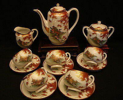 MARKED Uchida JAPANESE TAISHO PERIOD SATSUMA EGG SHELL TEA / COFFEE SET