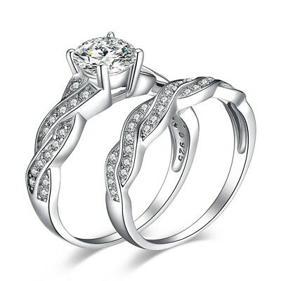 JewelryPalace 1.5ct Infinity CZ Wedding Bridal Sets Ring 925 Silver Size 4-11