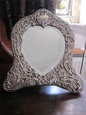 Edwardian Heart Shaped Sterling Silver Dressing Table Mirror William Comyns 1907