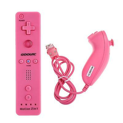 Built in Motion Plus Remote and Nunchuck Controller+ Case for Nintendo Wii Rose
