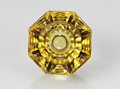 Citrine. Precision Cut. Flat Facet With Carving. 13mm. 8.05cts & Flawless.