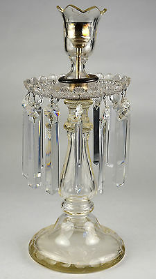 Clear Glass Candelabra Candle Holder Dangling Prism Fan Cut Hand Antique Taper &