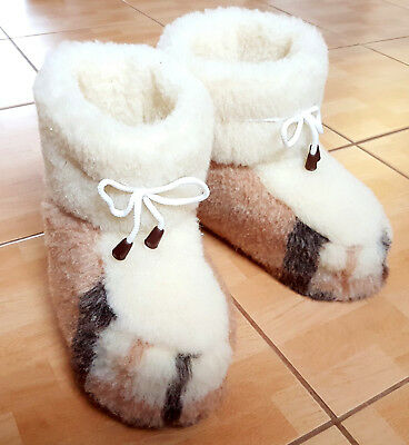 Unisex Slippers Boots Pure Sheep Wool  4 5 6 7 8 9 10 11 12 13 gift