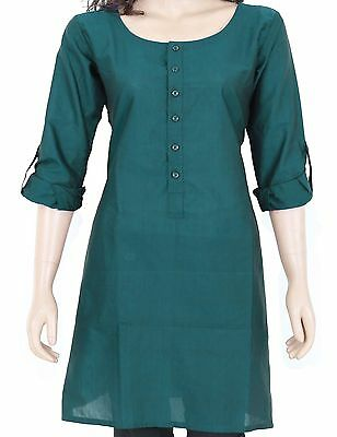 Ethnic Indian Dark Teal Cotton Short Kurta Kurti Top Tunic Full Sleeve 903175